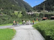 Weg Wiese Radfahrer