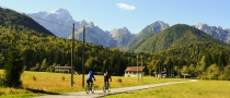 Gras Radfahrer Straße Bäume Berge